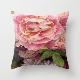 Oil Paint Flower Throw Pillow