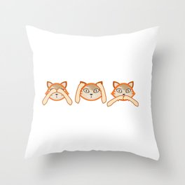 Funny Cats Don't See Don't Hear Don't Speak Design Throw Pillow
