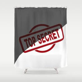 Top Secret Half Covered Ink Stamp Shower Curtain