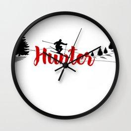 Ski at Hunter Wall Clock