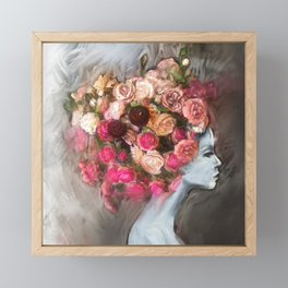 Flower Bloom Girl Framed Mini Art Print