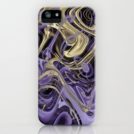 Gold & Ultra Violet Liquid Marble Love iPhone Case