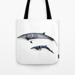 Minke whale with baby whale Tote Bag
