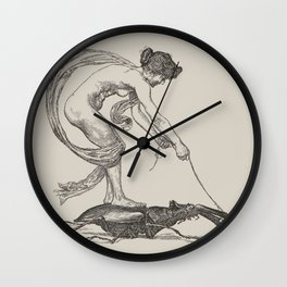Nude Classical Woman Riding a Beetle 1895-1896 Wall Clock