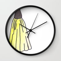 hufflepuff Wall Clocks featuring Hufflepuff Dress by AlwaysRiverose