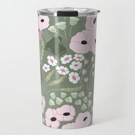 Pink Poppies - kaki floral pattern Travel Mug