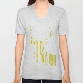 Geometric Yellow Stag Unisex V-Neck