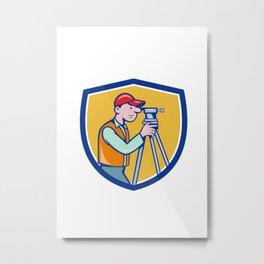Surveyor Geodetic Engineer Theodolite Shield Cartoon Metal Print