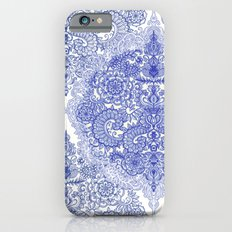 Happy Place Doodle in Cornflower Blue, White & Grey iPhone 6 Slim Case