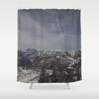 the mountains are calling Shower Curtains featuring The mountains are calling by UtArt