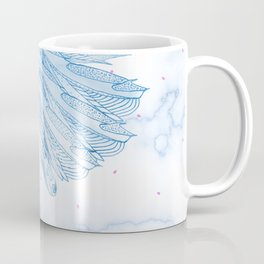 Beautiful Feathers on Blue Marble Design Coffee Mug