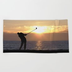 Playing Golf At Sunset Beach Towel