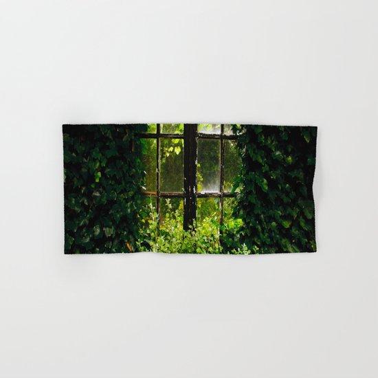 Green idyllic overgrown cottage garden window by thunesdesign