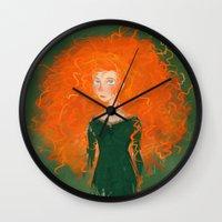 pixar Wall Clocks featuring Merida from Brave (Pixar - Disney) by Delucienne Maekerr