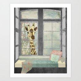 Bay Window Giraffe Art Print