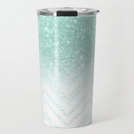 Faux teal glitter ombre modern chevron pattern Travel Mug