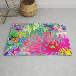 Colorful Flower Garden Abstract Collage Art Rug