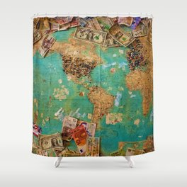 Risk Travel Map (Color) Shower Curtain