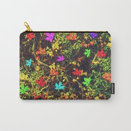 maple leaf in blue red green yellow pink orange with green creepers plants background Carry-All Pouch