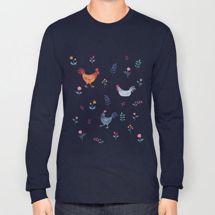 Little Hens (blue) Long Sleeve T-shirt