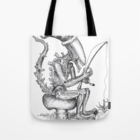 gnome Tote Bags featuring Alien gnome by ronnie mcneil