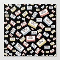 Primary Mixtapes on Black  Canvas Print