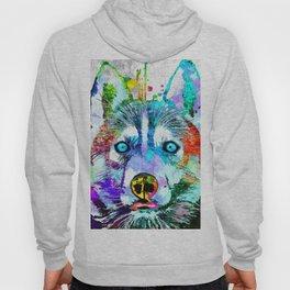 Husky Dog Watercolor Grunge Hoody