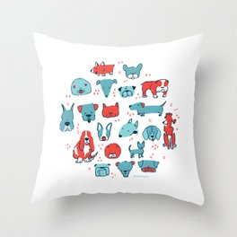 Mod Dogs Throw Pillow