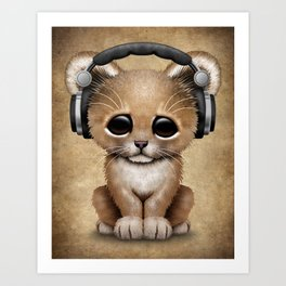 Cute Lion Cub Dj Wearing Headphones Art Print