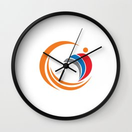 sea waves with people Wall Clock