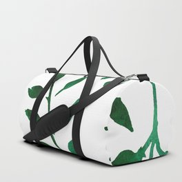 Minimalist Forest Green Leaves Watercolor Duffle Bag