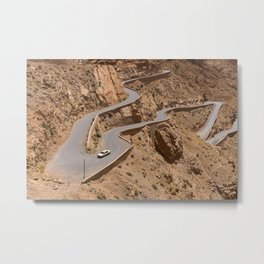 Zigzag Road In A Brown Mountainside Metal Print