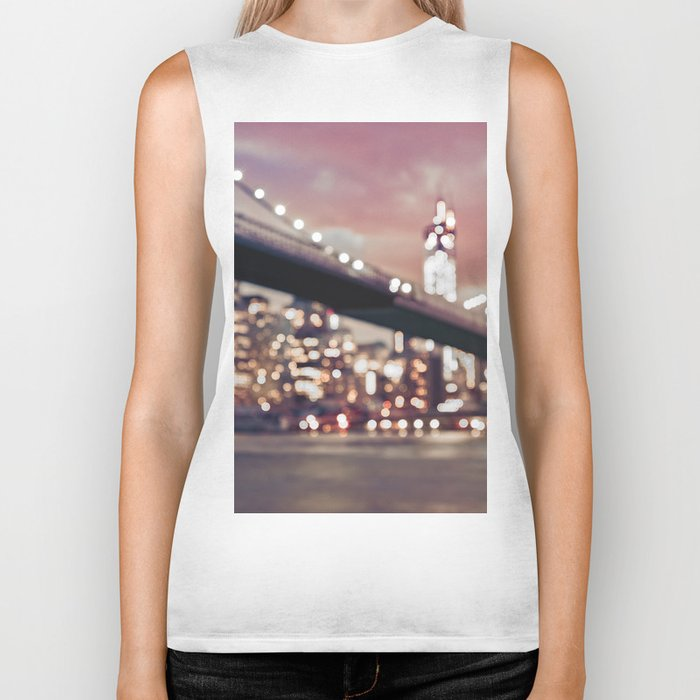 New York City Brooklyn Bridge Lights Biker Tank