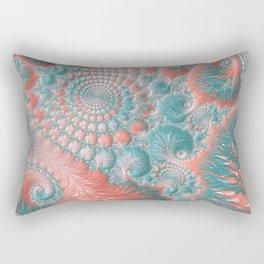 Abstract Living Coral Reef Nautilus Pastel Teal Blue Orange Spiral Swirl Pattern Fractal Fine Art Rectangular Pillow