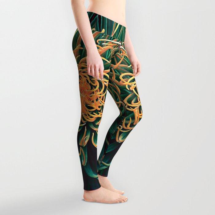 Green & orange succulent Leggings