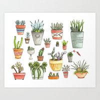 succulents Art Prints featuring Potted Succulents by Brooke Weeber