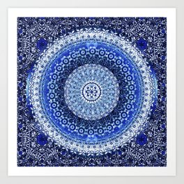 Cobalt Tapestry Mandala Art Print
