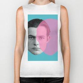 Hemingway - portrait pink and blue Biker Tank