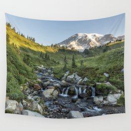 Early Morning Light on Mt Rainier above Edith Creek Wall Tapestry