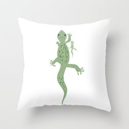Gecko Mama and Baby Throw Pillow