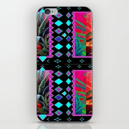 BLACK-TURQUOISE DESERT AGAVE PAINTING iPhone Skin