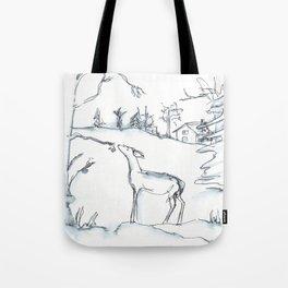Winter Scene with Deer, watercolor and ink Tote Bag