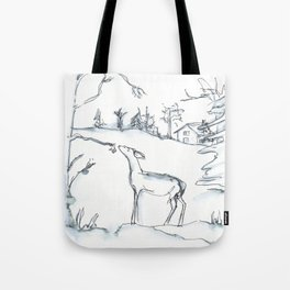 Winter Scene with Deer, watercolor and ink Tote Bag