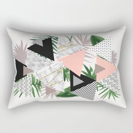 Abstract of geometric patterns with plants and marble Rectangular Pillow