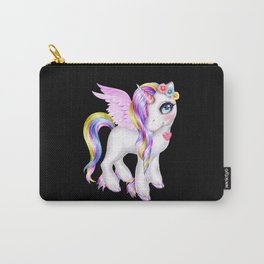 Colorful unicorn girl with wings and rainbow hair Carry-All Pouch