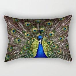 Vibrant pretty as a peacock bird feather art nouveau animal nature photograph Rectangular Pillow