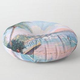 Waikiki Beach, Diamond Head, Oahu landscape painting by D. Howard Hitchcock Floor Pillow