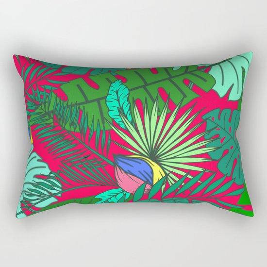 TROPICAL GARDEN (abstract collage) Rectangular Pillow