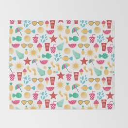 Summer time pattern with colorful beach elements Throw Blanket