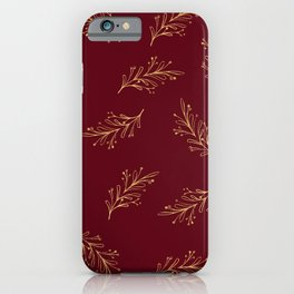 Red and Gold Christmas Glitter Pattern iPhone Case